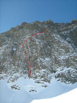 Il tracciato di Cugnisiun zero', Monviso, Parete Nord, Settore Nord Est