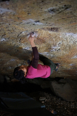 Tomoko Ogawa sending the boulder problem Catharsis (8B+) at Shiobara in Japan.