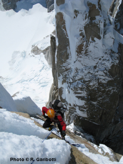 Colin Haley following more severely iced up rock high up on El Arca de los Vientos, Cerro Torre north face.