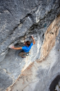 26/09/2012: Matthias Trottmann making the first ascent of Quattro stagioni, 8c 40m, Engelberg, Switzerland.