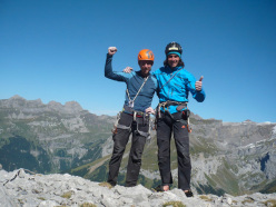 Tommy Caldwell and Matteo della Bordella after having climbed the North Face of Titlis