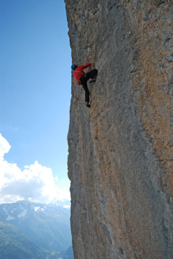 Portami Via: the wall where Tommy Caldwell failed to see the bolts and climbed off-route.