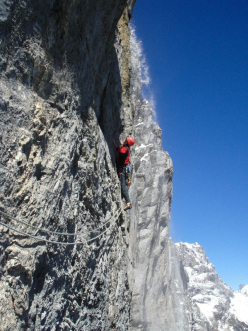 Portami Via: pitch 4, the 10m, totally unprotected 6c traverse