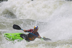 The team's successful first descent of the Congo River's 50-mile Inga Rapids stretch took four days, but the team spent three weeks preparing on Uganda's White Nile. Here Fisher kayaks on the Class V rapids on the White Nile.