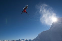 On February 3, 2012, Josh Dueck performed the world's first sit-ski backflip on a massive jump at Powder Mountain Catskiing outside of Whistler, British Columbia.