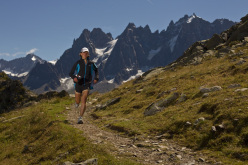 Champion trail ultrarunner Lizzy Hawker is seen running through the mountains surrounding Chamonix, France, days before running—and winning—the Ultra-Trail du Mont-Blanc for the fifth time, a feat no man or woman has accomplished before.