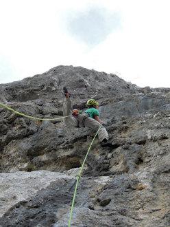 Michi Wohlleben climbing Hystrix (200 m, 8a+ max, 7a obl.), Sicily