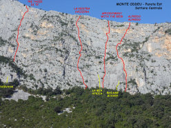 The routes up the East Face of Monte Oddeu (the cental section).