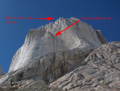 The Piergiorgio rock face and the scene of the accident.
