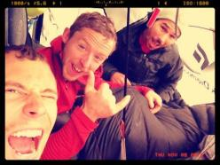 Jonathan Siegrist, Tommy Caldwell, Kevin Jorgeson waiting out a storm on the Dawn Wall, El Capitan, Yosemite, USA.