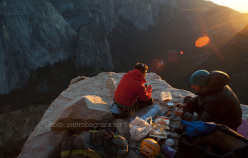 Matteo Della Bordella and David Bacci at the El Cap Spire bivy, El Capitan, Yosemite