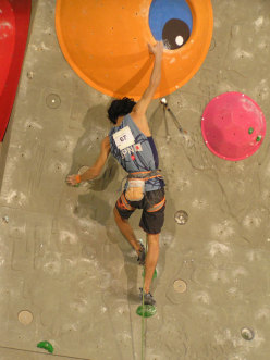 Sachi Amma, winner of the Lead World Cup 2012 competing at the final in Kranj