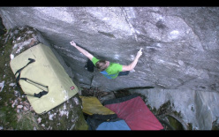Nalle Hukkataival making the first ascent of the boulder problem Simple Life, 8B, Valle Bavona, Ticinio, Switzerland.