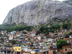 The Rocinha Favela below the North face of the Two Brothers Peak, Rio de Janeiro, Brazil
