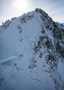 23/11/2012: Vivian Bruchez and Kilian Jornet Burgada during the first ski descent of the Migot Spur, Aiguille de Chardonnet, Mont Blanc massif.
