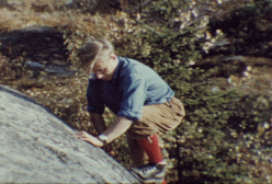 Matti A. Jokinen climbing at Taivaskallio, circa 1960.