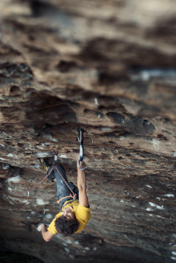 Jacopo Larcher climbing Fifty words for pump 8c+, Red River Gorge, USA