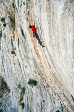Jacopo Larcher climbing at the new crag bolted for the The North Face Kalymnos Climbing Festival 2012