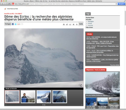 The page of the French newspaper ledauphine.com dedicated to the search for Francesco Cantù, Damiano Barabino e Luca Gaggianese, the three Italian alpinists missing in the Écrins massif  (Dauphiné Alps, France).