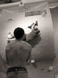 Sean McColl and Jakob Schubert working the boulder problems of the La Sportiva Legends Only - Stockholm