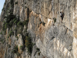 Enrico Scalia climbing at the crag Chiromante