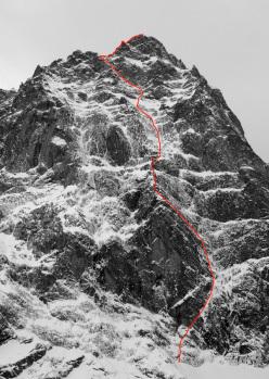Eyes Wide Shut (900m, ED1, M6, AO, UIAA IV+, Matt Helliker, Jon Bracey 20/11/2012), NE Face of Mont Rouge di Greuvetta (Mont Blanc massif).