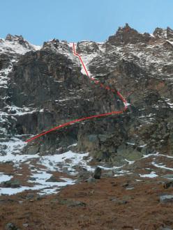 Hochgasser (2922m): Wurzer Rinne (M5, WI5, 700m, Peter e Matthias Wurzer, 18/11/2012)