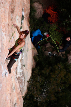 Argyro Papathanasiou climbing El Figot 8b at Siurana, Spain