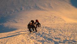 Sulla Mont Blanc du Tacul, Monte Bianco, durante un corso di formazione per diventare Guida Alpina