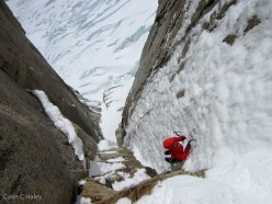 12/2012: Colin Haley & Join Walsh climbing Tobogan (600m, AI4, M6), Cerro Standhardt, Patagonia.