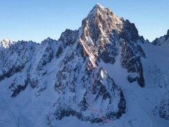 04/01/2012: probabile first ski and snowboard descent of the Face Sud Est dell'Aiguille du Chardonnet (Mont Blanc) by Davide Capozzi, Julien Herry and Luca Rolli.