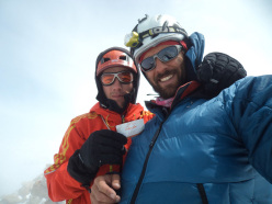 Corrado Pesce and Andrea Di Donato on the summit of Fitz Roy after having climbed Supercanaleta.