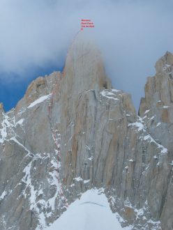 The East Face of Mermoz and the route Vol de Nuit (Andy Parkin solo, 1993)