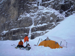 Our tent beneath Crozzon di Brenta (Gianni Canale & Aldo Mazzotti, 6-7/01/2013)