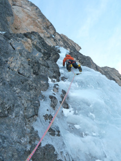 Giorgio Bertagnolli and Cristian Defant making the first repeat of Via Valeria on Crozzon di Brenta in the Dolomites on 12/01/2013