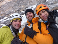 Andrea Gamberini, Marco Milanese e Beppe Ballico su Psyco Killer, Tofana di Rozes, Dolomiti il 12/01/2013