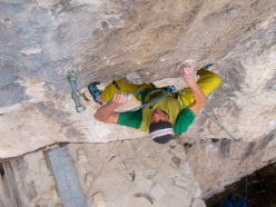 Riccardo Scarian climbing Child in Time 8c+, Fonzaso