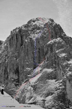 La Legrima, la linea della prima salita della colata di ghiaccio sulla parete Nord del Sassolungo per Adam Holzknecht e Hubert Moroder
