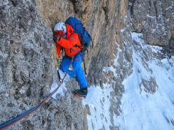 In action on La Legrima, North Face of Sassolungo, climbed by Adam Holzknecht and Hubert Moroder
