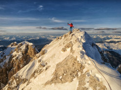 The summit of Sassolungo after having established La Legrima, North Face of Sassolungo, Dolomites (Adam Holzknecht and Hubert Moroder)