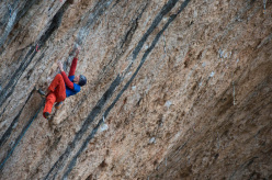 Jakob Schubert climbing at Santa Linya, Spain