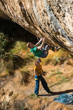 Jakob Schubert climbing at Margalef, Spain