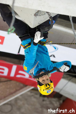 Angelika Rainer in action at Saas Fee during the second stage of the Ice Climbing World Cup 2013