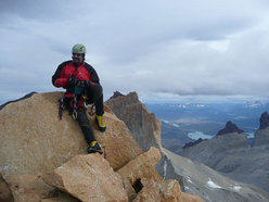 Central Tower of Paine - Elio Orlandi on the summit again after 22 years.