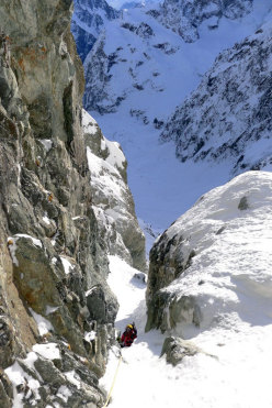 Sergio De Leo in the Col des Avalanches gully