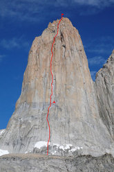 The East Face of the Central Tower of Paine with the route line 'El Gordo, El Flaco y L'Abuelito'