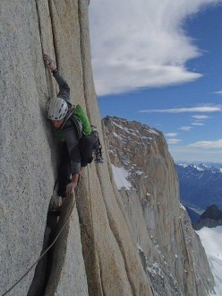 The Real Kekec, the new Slovenian route first ascended Luka Krajnc and Tadej Krišelj on Pilar Goretta, Fitz Roy, Patagonia.