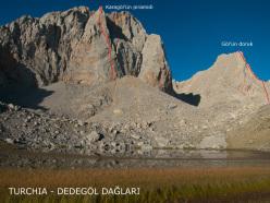 Lago Karagöl e le nuove vie aperte da Massimiliano Piccoli, Marco Sterni e Stefano Zaleri nel settembre 2012.