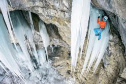 Dani Arnold climbing Flying Circus (M10, 165m, Robert Jasper 1998) Breitwangflue, Switzerland.