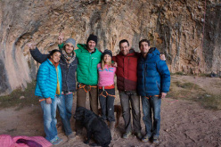 Daila Ojeda, Chris Sharma, Sasha DiGiulian, Erwan, Gaz Parry, Joe Kinder, and the dogs Chaxi, Raxi and Pody